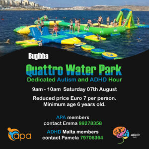 A photo of children playing on water obstacles and text with details of the event.